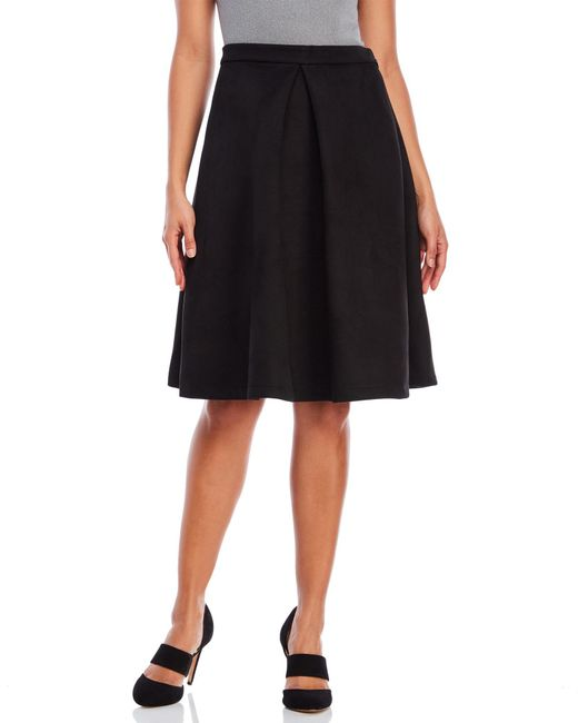 faux suede pleated midi skirt in black lyst