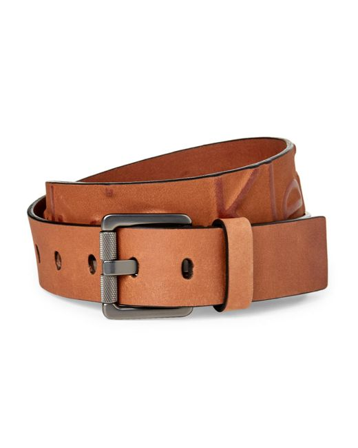 Calvin Klein - Brown Whiskey Embossed Logo Leather Belt - Lyst