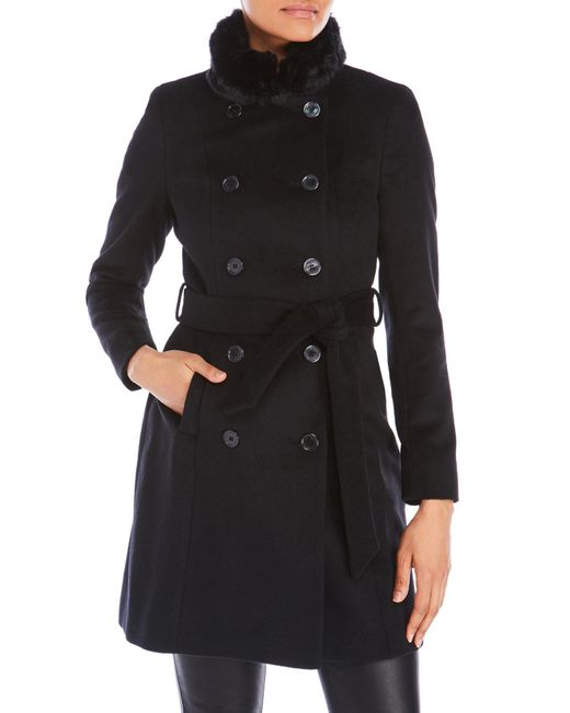 Lauren by Ralph Lauren | Black Faux Fur Tim Wool Military Coat | Lyst
