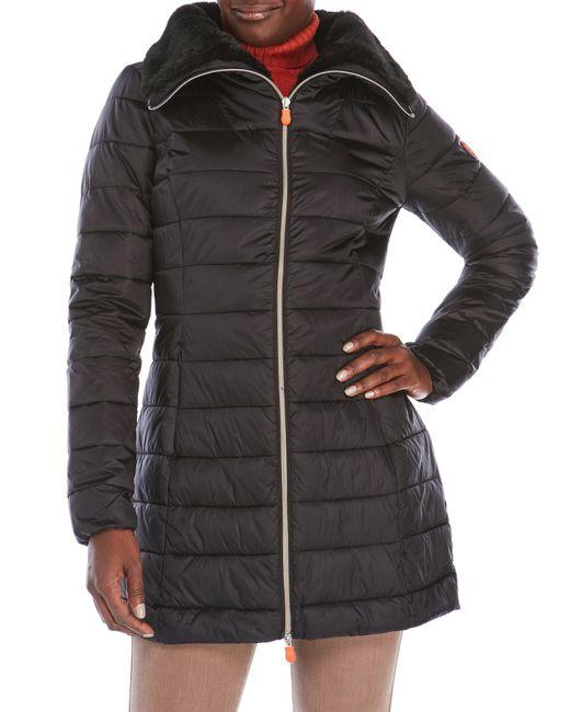 Save The Duck   Black Packable Faux Fur Trim Coat   Lyst