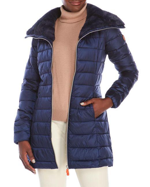 Save The Duck | Blue Packable Faux Fur Trim Coat | Lyst