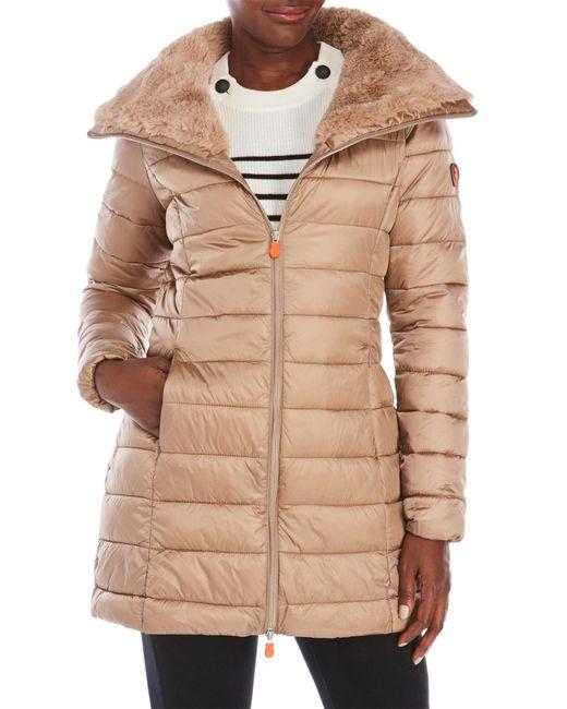 Save The Duck | Natural Packable Faux Fur Trim Coat | Lyst