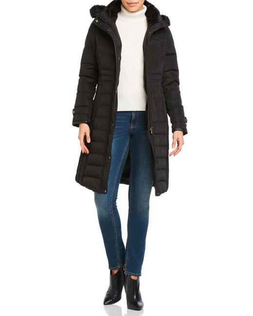 Lauren by Ralph Lauren | Black Faux Fur Trim Hooded Down Long Coat | Lyst