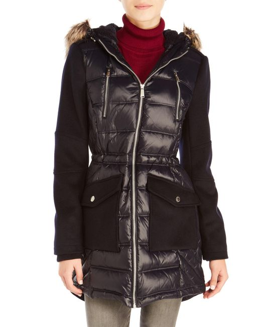 BCBGeneration | Blue Mixed Media Hooded Coat With Faux Fur Trim | Lyst