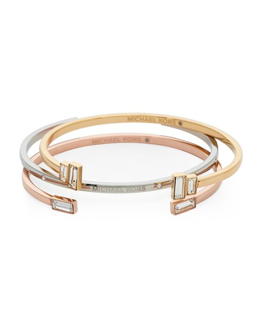 Michael Kors | Metallic Tri-Color Bracelet Set | Lyst