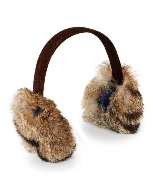 Surell - Brown Real Rabbit Fur Earmuffs - Lyst