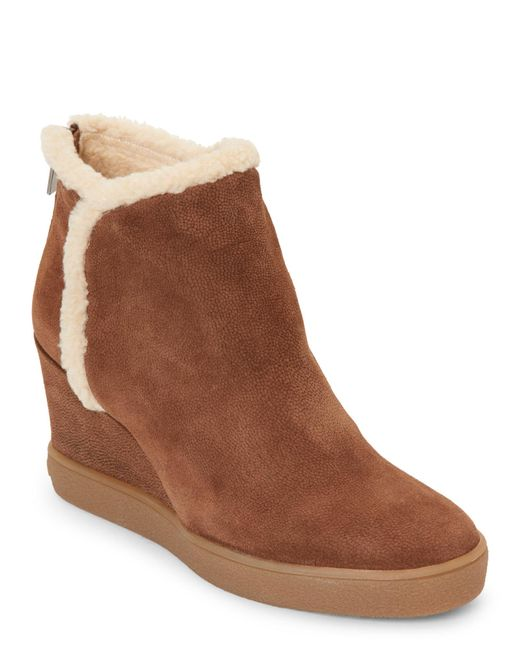 Aquatalia | Brown Chestnut Charlie Trimmed Wedge Booties | Lyst