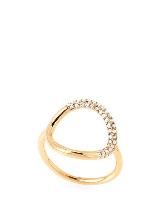 Michael Kors - Metallic Gold-tone Pave Circle Ring - Lyst