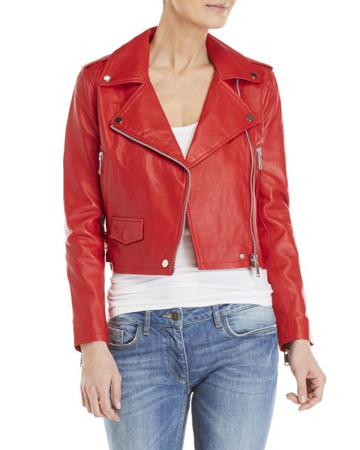 Walter Baker - Red Leather Moto Jacket - Lyst