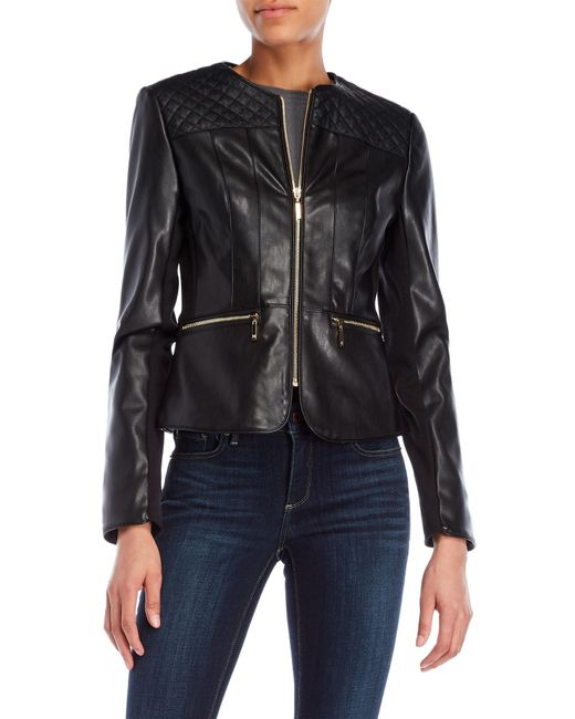 Ivanka Trump - Black Basket Weave Faux Leather Jacket - Lyst