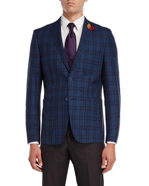 English Laundry - Blue Plaid Sport Coat for Men - Lyst