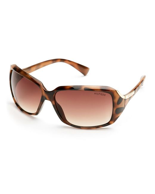 Tommy Hilfiger - Brown Cheetah-Print Miranda Rectangular Wrap Sunglasses - Lyst