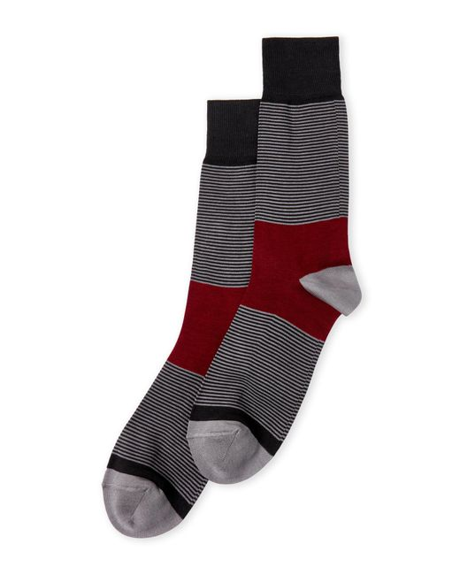 Bruno Magli - Gray Color Block Stripe Crew Socks for Men - Lyst