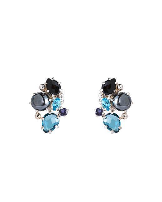Anzie - Blue Rhodium-plated Bouquet Earrings - Lyst