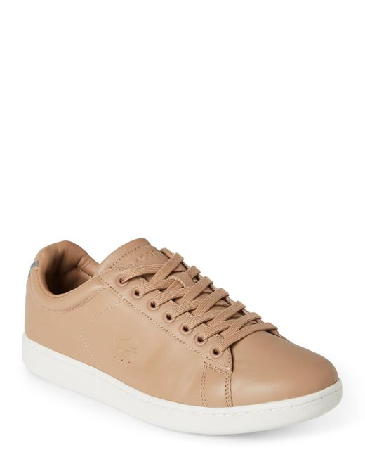 Lacoste | Brown Light Tan Carnaby Evo Leather Low Top Sneakers for Men | Lyst