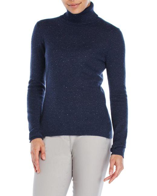 Qi   Blue Turtleneck Cashmere Sweater   Lyst