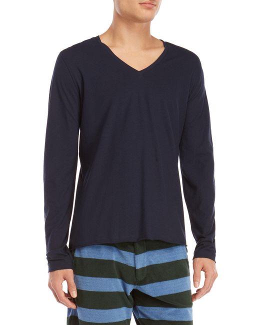Roberto Collina - Blue V-neck Long Sleeve Tee for Men - Lyst