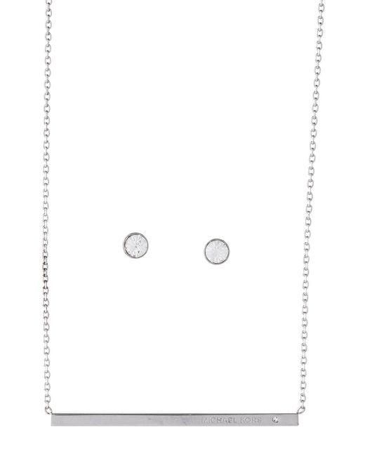 Michael Kors - Metallic Silver-tone Bar Necklace & Stud Earrings Set - Lyst