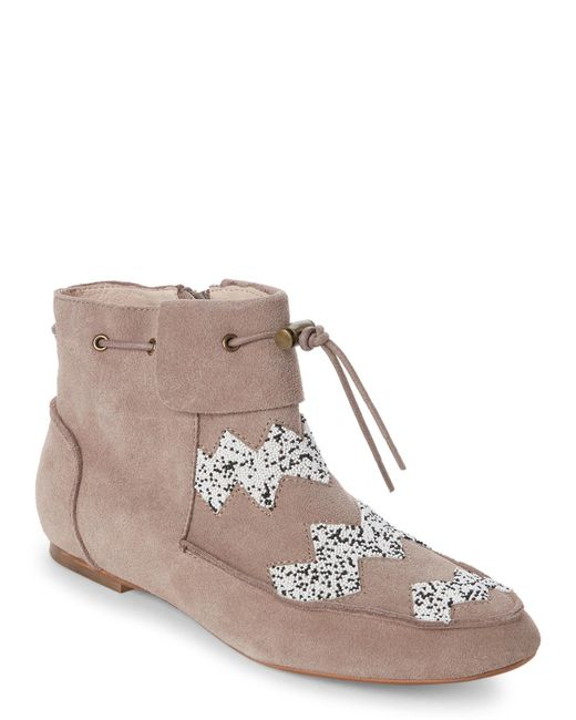House of Harlow 1960 | Brown Taupe Monty Beaded Booties | Lyst