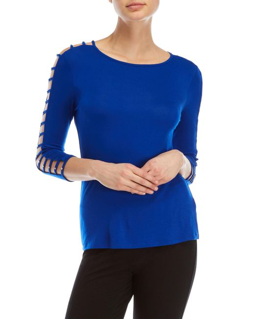 Cable & Gauge - Blue Three-quarter Ladder Sleeve Top - Lyst