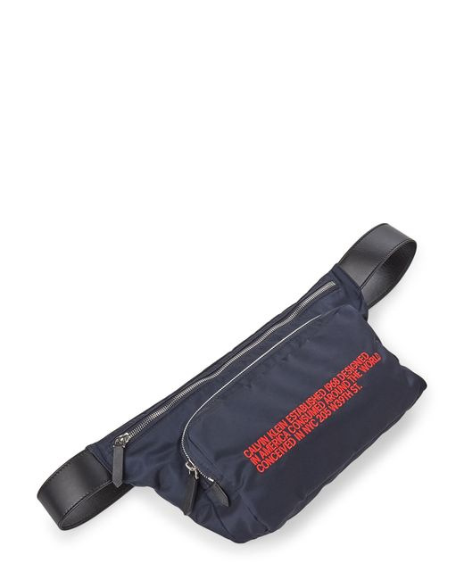 CALVIN KLEIN 205W39NYC Blue Navy Typographic Logo Nylon Fanny Pack for men