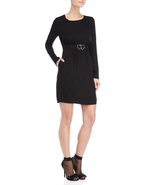 Love Moschino - Black Heart Accent Long Sleeve Dress - Lyst