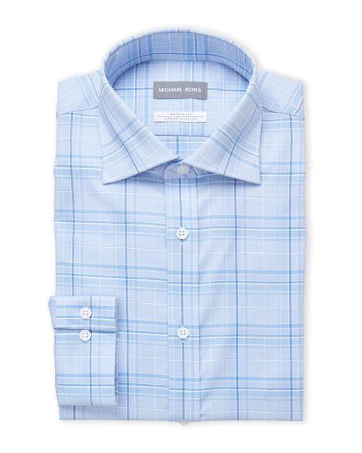 Michael Kors - Blue Plaid Slim Fit Stretch Dress Shirt for Men - Lyst