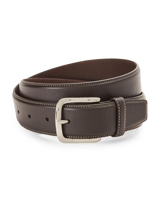 Cole Haan - Brown Contrast Stitch Leather Belt - Lyst