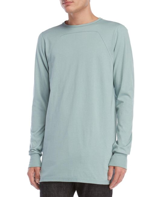 DRKSHDW by Rick Owens - Blue Long Sleeve Elongated Tee for Men - Lyst