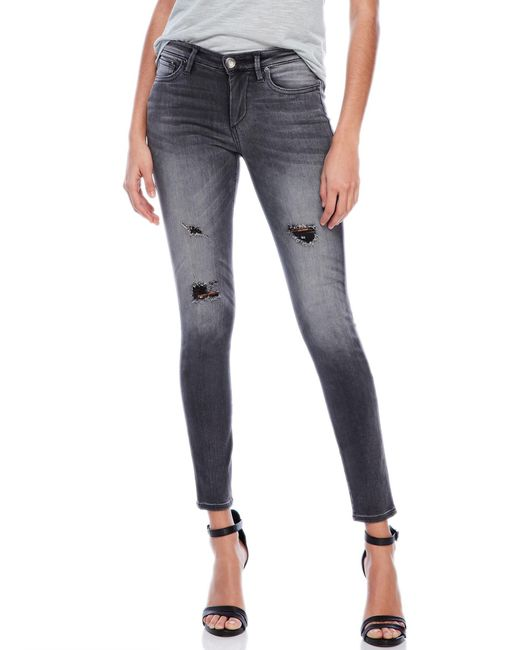 True Religion | Gray Halle Mid-Rise Skinny Jeans | Lyst