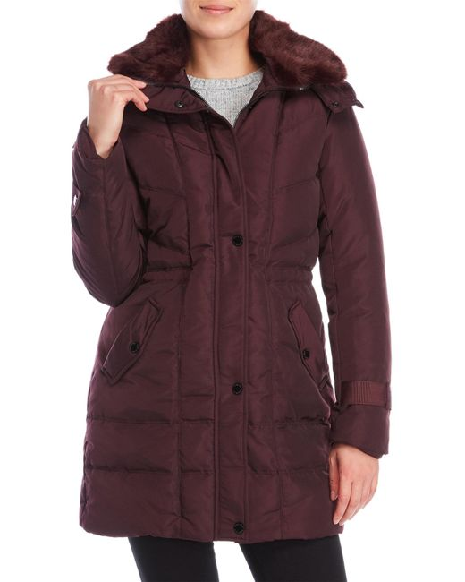 Kenneth Cole | Purple Faux Fur Hooded Down Coat | Lyst