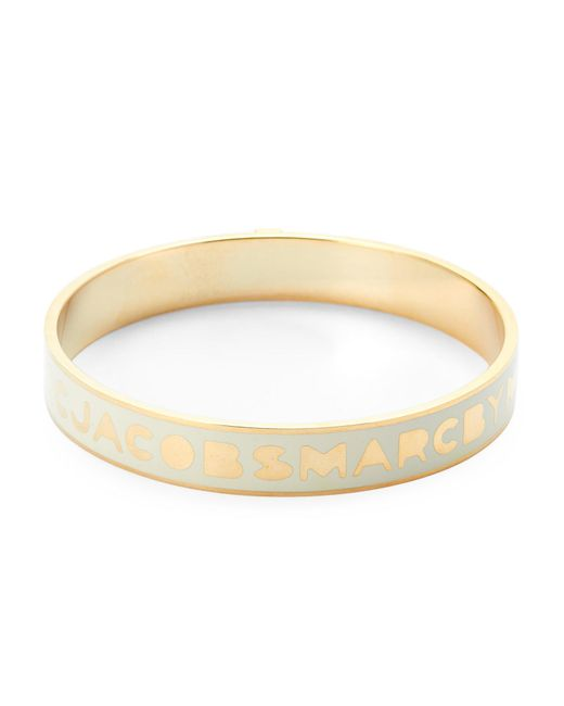 Marc By Marc Jacobs | Metallic Cream & Gold-Tone Brass Bangle | Lyst