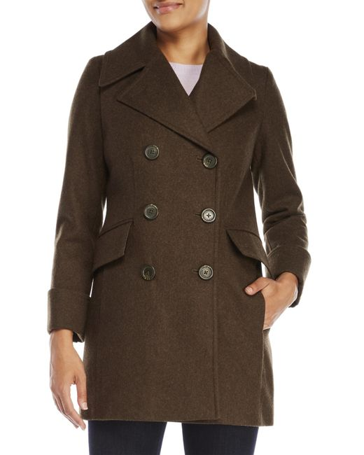 Anne Klein | Green Double-Breasted Wool Coat | Lyst