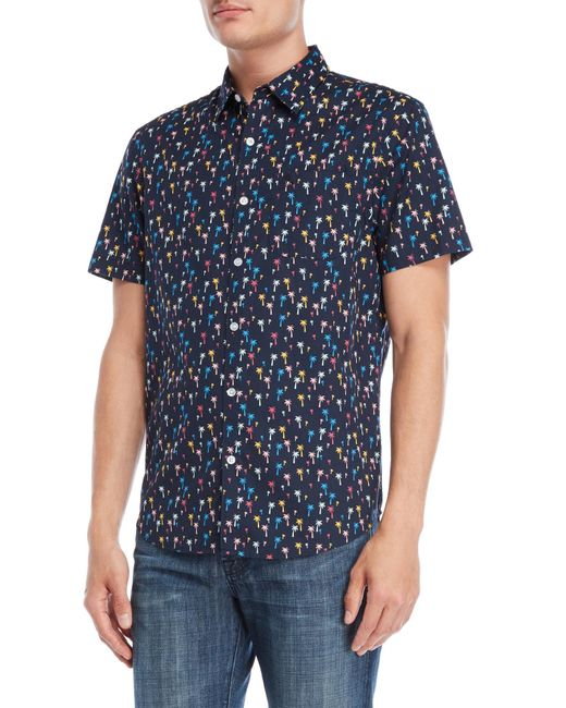 Original Penguin - Blue Short Sleeve Mini Palm Print Lawn Sport Shirt for Men - Lyst