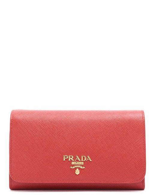 Prada - Red Saffiano Fold Wallet - Lyst