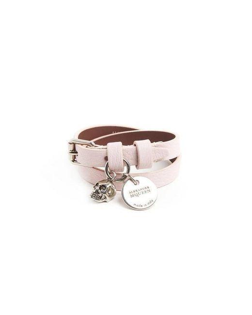 Alexander McQueen - Pink Double Wrap Skull Bracelet - Lyst