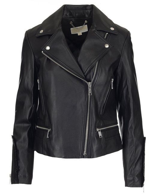 MICHAEL Michael Kors - Black Leather Biker Jacket - Lyst