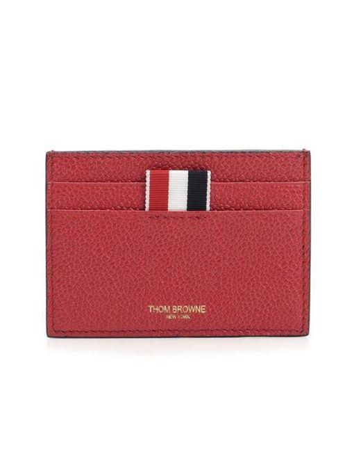 Thom Browne - Red Grosgrain-trimmed Pebble-grain Leather Cardholder for Men - Lyst