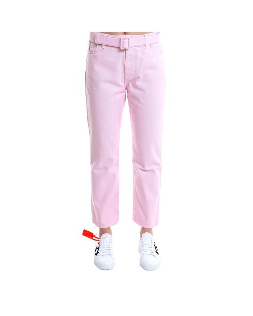 Off-White c/o Virgil Abloh - Pink Belted Jeans - Lyst