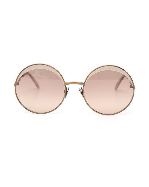 Bottega Veneta - Brown Intrecciato Circle Framed Sunglasses - Lyst