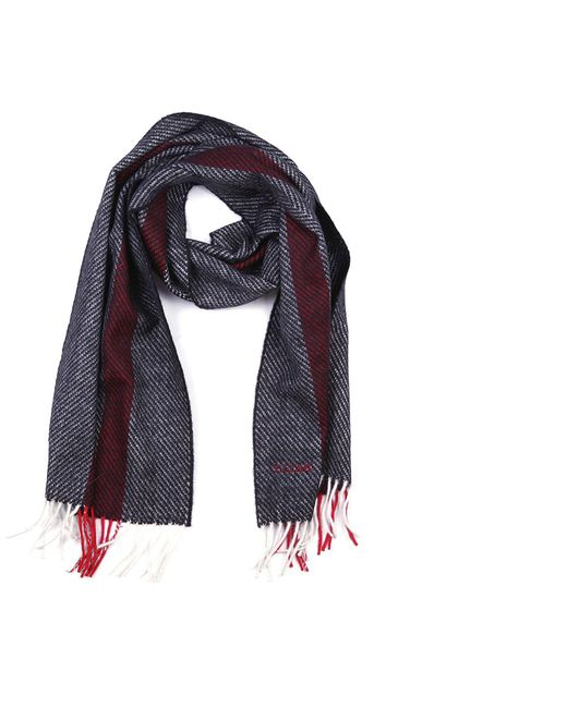 Bally - Gray Fringe Detail Logo Scarf for Men - Lyst