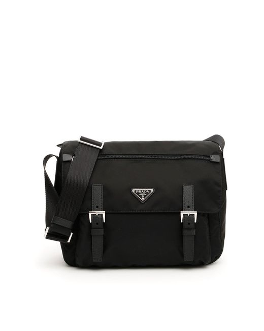 5c51312e40 Prada Saffiano Strap Messenger Bag in Black - Lyst