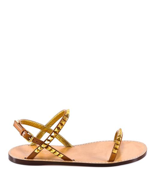 1b97330ef8c9 Lyst - Valentino Garavani Rockstud Sandals in Brown - Save 24%