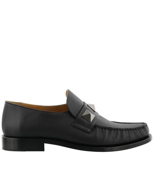 Valentino - Black Garavani Macro Studs Loafers for Men - Lyst