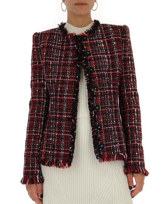 Alexander McQueen - Red Tweed Jacket - Lyst