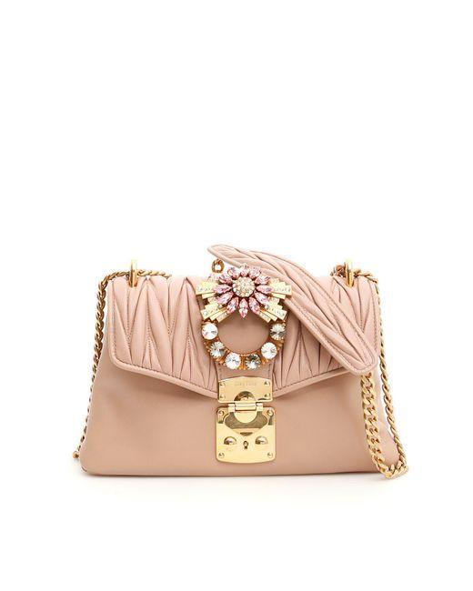 Miu Miu Crystal Embellished Matelassé Shoulder Bag in Natural - Lyst 487ec61ae1