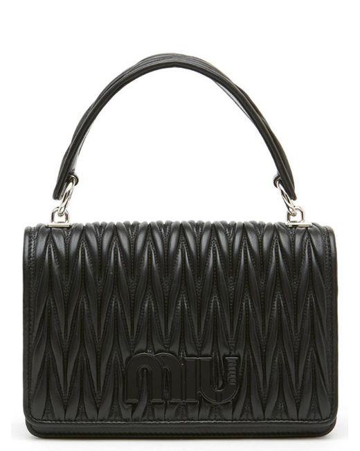 Miu Miu - Black Matelassé Tote Bag - Lyst