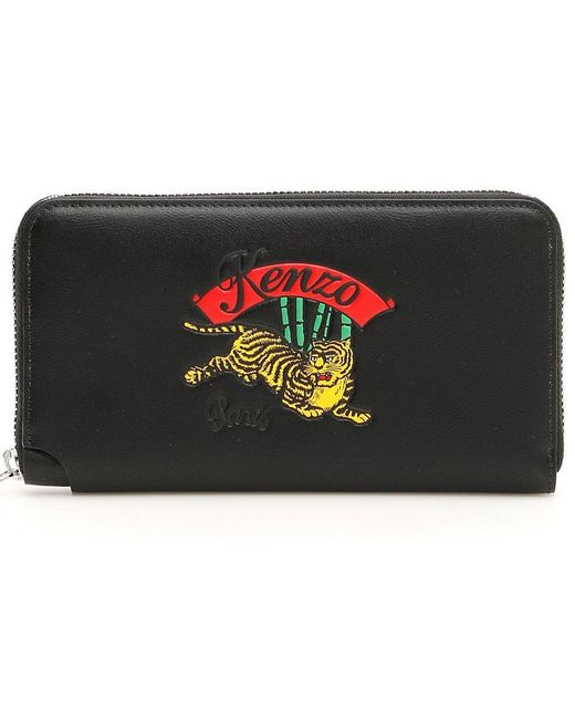 KENZO - Black 'jumping Tiger' Leather Wallet for Men - Lyst