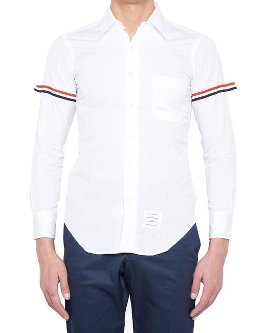 c68691f0a27 Lyst - Thom Browne Striped Sleeve Shirt in White for Men