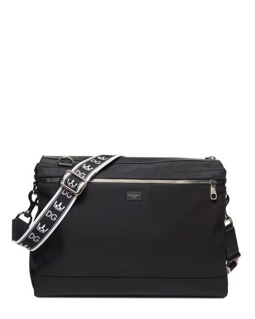 Dolce & Gabbana - Black Logo Strap Messenger Bag for Men - Lyst